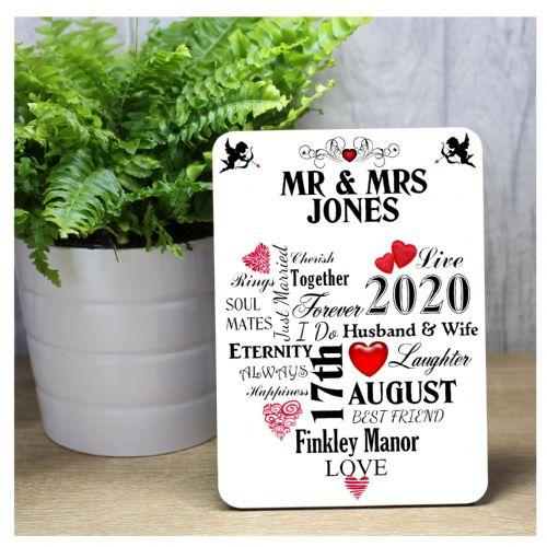 Personalised Mr & Mrs Wedding Word Art Wood Panel Frame Print F45 - Wedding Keepsake Gift